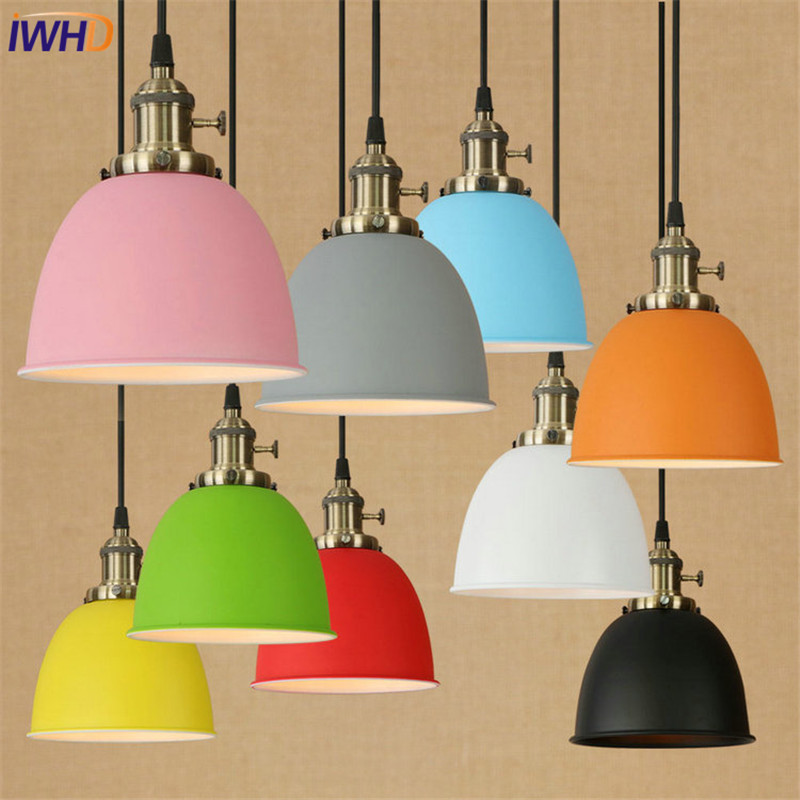 IWHD Loft Style Color Iron LED Pendant Light Fixtures Vintage Industrial Lighting Dining Room Hanging Lamp Simple Droplight