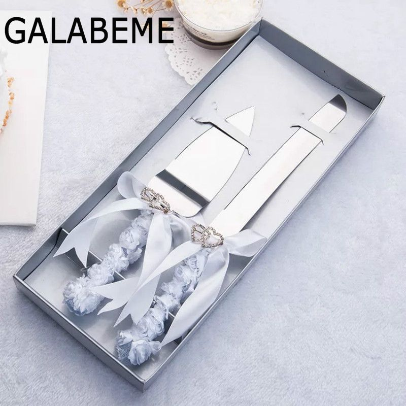 Galabeme 2PC Personalize Flower Heart Wedding Cake Knife Serving Set Decoration Supplies Custom Name & Date Wedding Favor Gifts