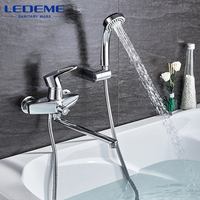 LEDEME Chrome Bathtub Faucets Finished Thermostatic Faucet Bathroom Shower Faucets Wall Mounted Mixer Bath Faucet 1