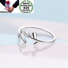 OMHXZJ,, Европейская мода, вечерние, для женщин и девушек, подарок на свадьбу, Серебряные Листья, открытые 925 пробы, серебряное кольцо, RR273