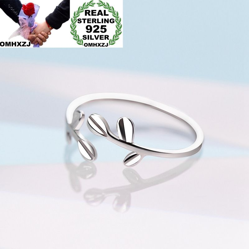 OMHXZJ Wholesale European Fashion Woman Girl Party Wedding Gift Silver Leaves Open 925 Sterling Silver Ring RR273