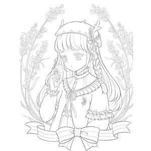 Image 2 - New 花と女の子ぬりえ秘密ガーデンスタイルアニメライン描画ブックキル本アダルトチルドレンのための