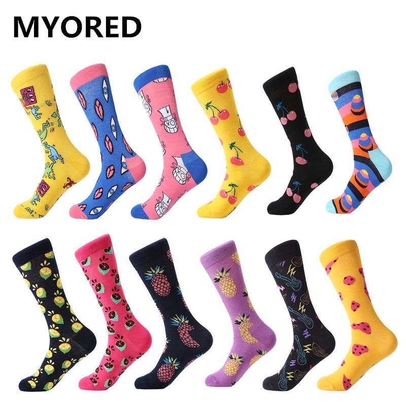 MYORED 12 pairs lot colorful For men s cotton funny winter Warm plain socks socks novelty