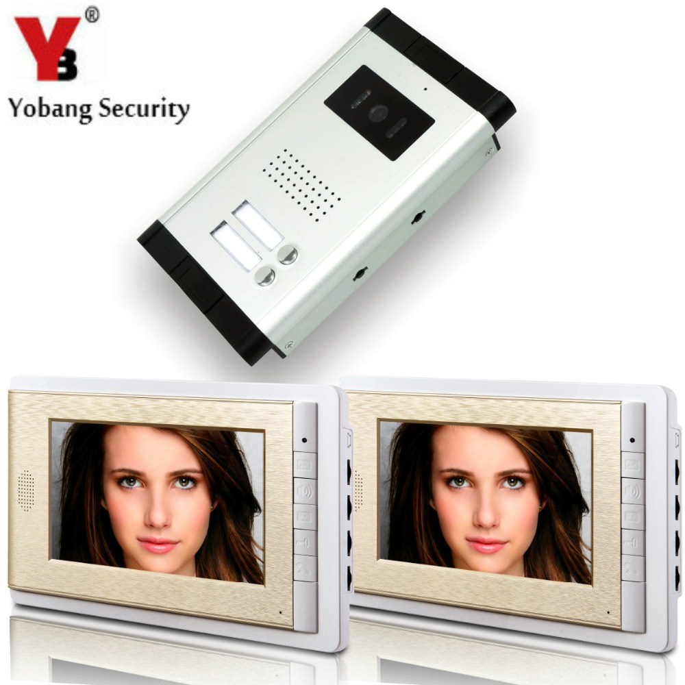 YobangSecurity 2 Units Apartment Intercom 7 Inch Monitor Video Intercom Doorbell Door Phone Video Intercom Entry Access System apartment video intercom system 6 units video door phone kit 7 inch monitor for apartment video interphone