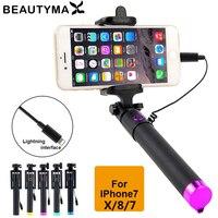 Für iphone X XR XS MAX Wired Selfie Stick Selfie Einbeinstativ für iphone X 8 7 6 plus 5 5 s Verdrahtete Foto Stativ Erweiterbar Selfie