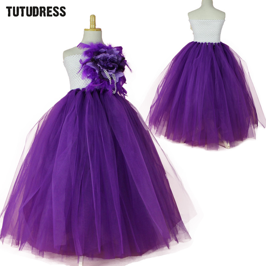 New Flower Girl Dresses Purple Kids Party Pageant Wedding Dress Children Ball Gown Sleeveless Tutu Dress Tulle Princess Costume