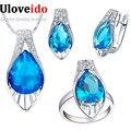 Brincos de pingente de Zircônio Anel de Cristal Conjunto de Jóias com Pedras Azuis Conjuntos de Jóias de Casamento Das Mulheres Presentes de Ano Novo para a Menina T219