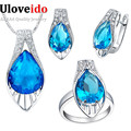 Pendant Earrings Ring Crystal Jewelry Set with Blue Stones Zirconium Women Wedding Jewellery Sets New Year Gifts for Girl T219