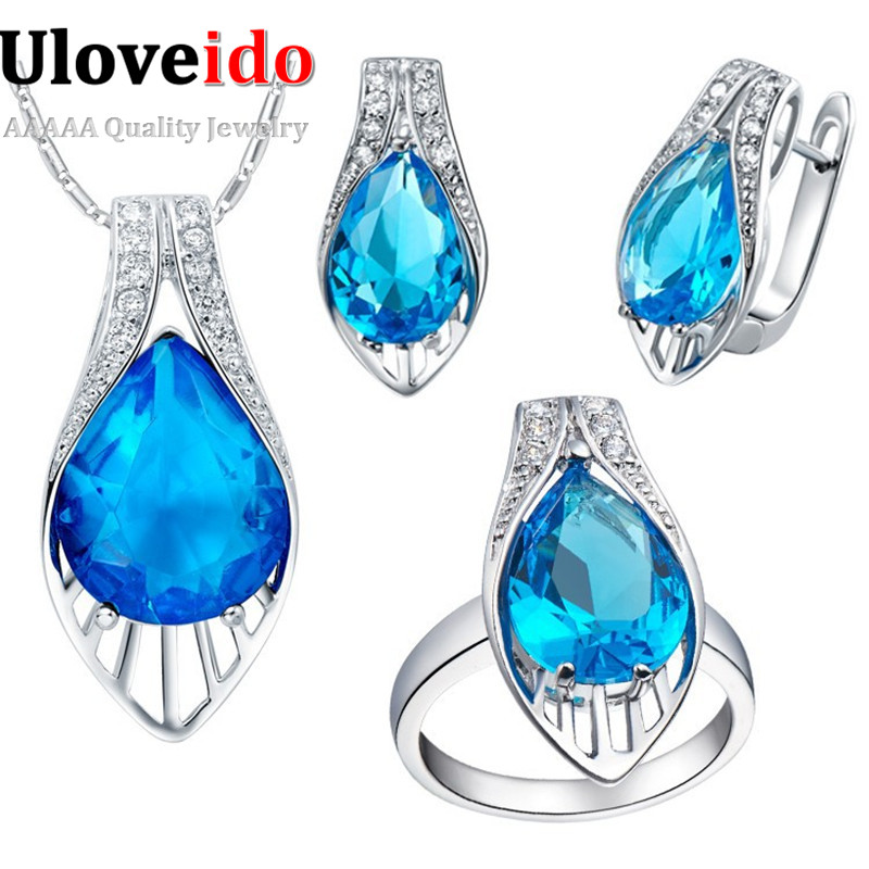 Pendant Earrings Ring Crystal Jewelry Set with Blue Stones Zirconium Women Wedding Jewellery Sets New Year Gifts for Girl T219 ...