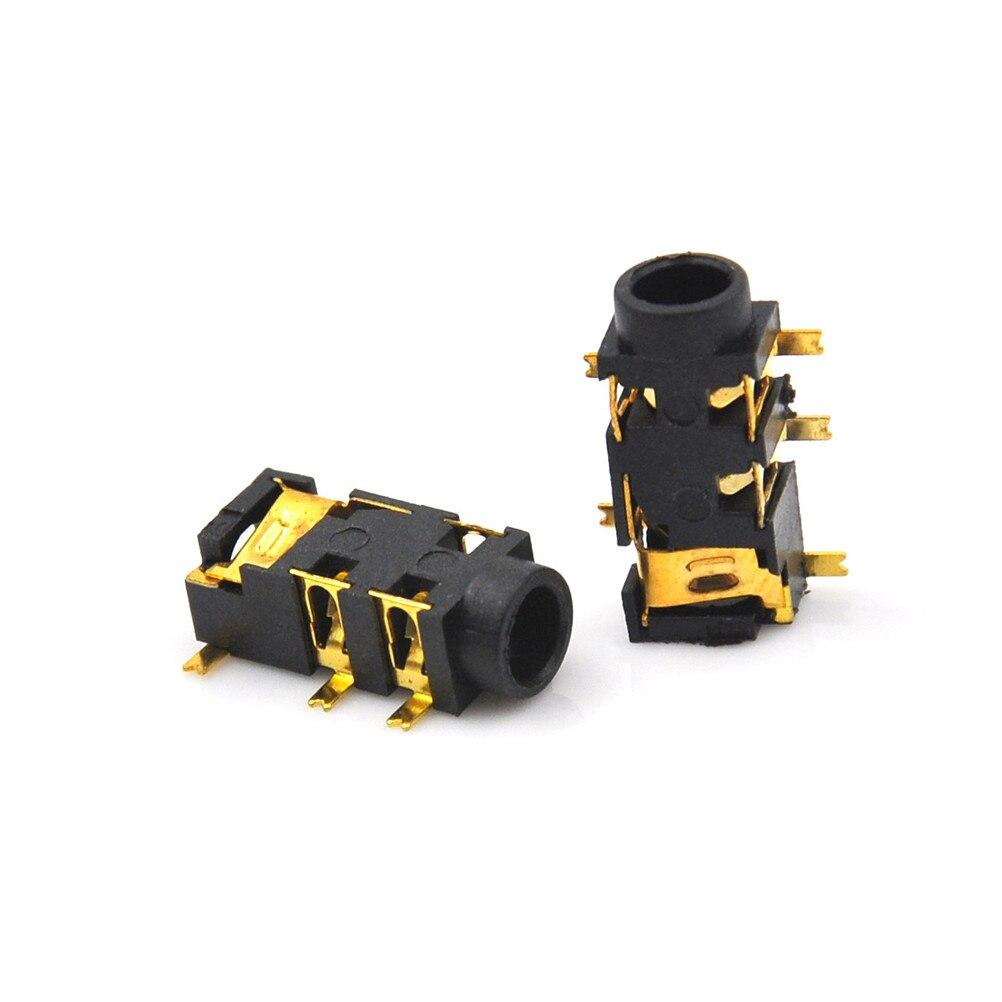Conector de Audio hembra de 5 pines SMT SMD, 10 Uds., Conector de auriculares PJ-327A, parche chapado en oro, toma de auriculares de Audio SMD de 3,5mm