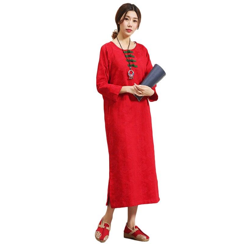 2018 Retro women dress pure cotton long sleeve dress contrast color frog galabia tunic abaya 4 colors