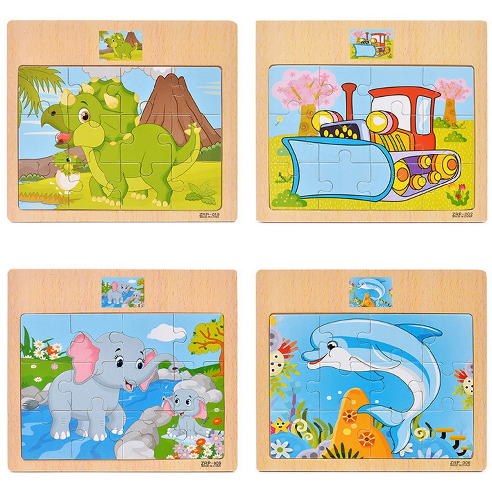 Image 5 - 12 Piece Puzzle Wooden Toys Kids Baby Wood Puzzles Cartoon Vehicle Animals Learning Educational Toys for Children Gift-in Puzzles from Toys & Hobbies