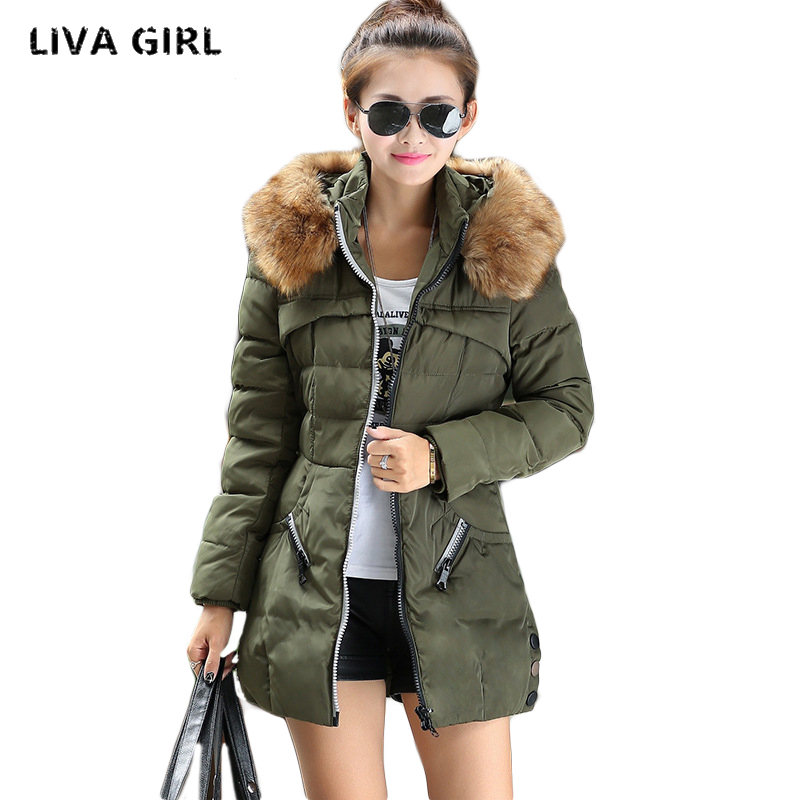 Liva Girl Plus Size Womens Down Coats Winter Slim Zipper Thickening Hooded Brand Female Coat Clothing YP70907