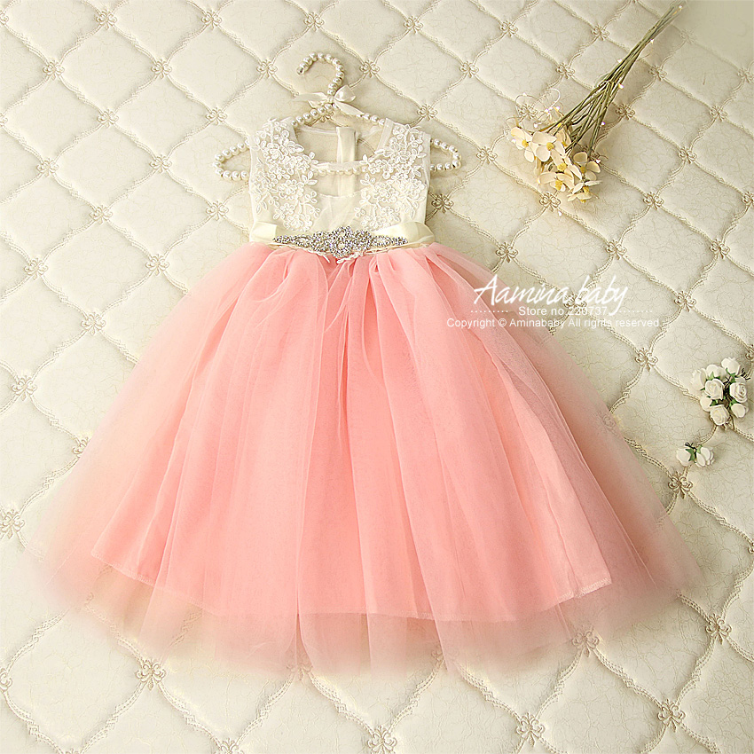 5K230 Diamond Belt Flower Embroidery Princess Party Toddler Tutu Kid Dresses For Baby Girls Wholesale Summer