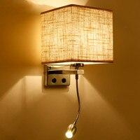 벽 조명 벽 램프 현대 LED 패브릭 + 철 벽 램프 장식 더블 튜브 E27 계단 홈 조명기구 실내 야외