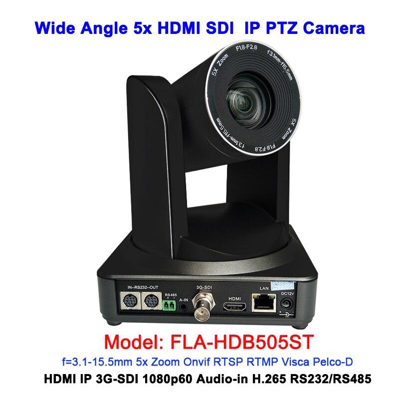 1080P60 Grande Angular 5x zoom Óptico IP PTZ Câmera De Vídeo HDMI 3G-SDI Saídas Para Conferência/Difusão
