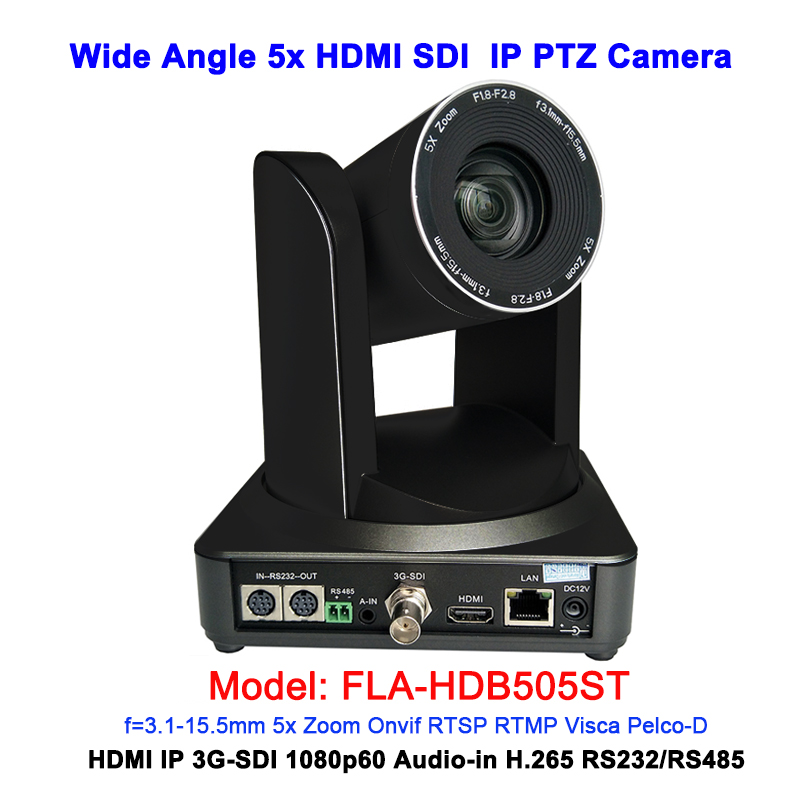 1080P60 Wide Angle 5x Optical zoom IP PTZ Video Camera HDMI 3G-SDI Outputs For Conferencing/Broadcasting