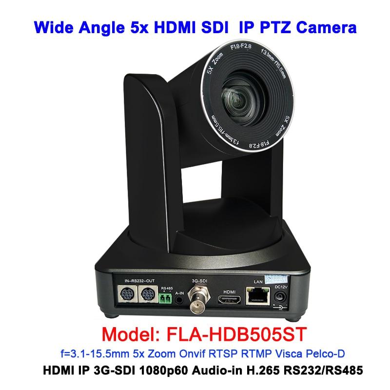 1080P60 de ángulo ancho 5x zoom óptico IP PTZ cámara de Video HDMI 3G-SDI salidas para conferencias/Broadcasting