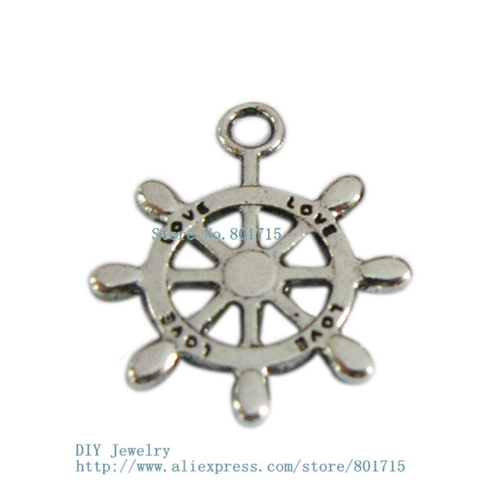 a4b14da8e15d3 DZ0006 dupla face Pingentes Antigo do Encanto do Metal leme Encantos Beads  Europeus Para Pulseira cadeia DIY Jóias Da Moda