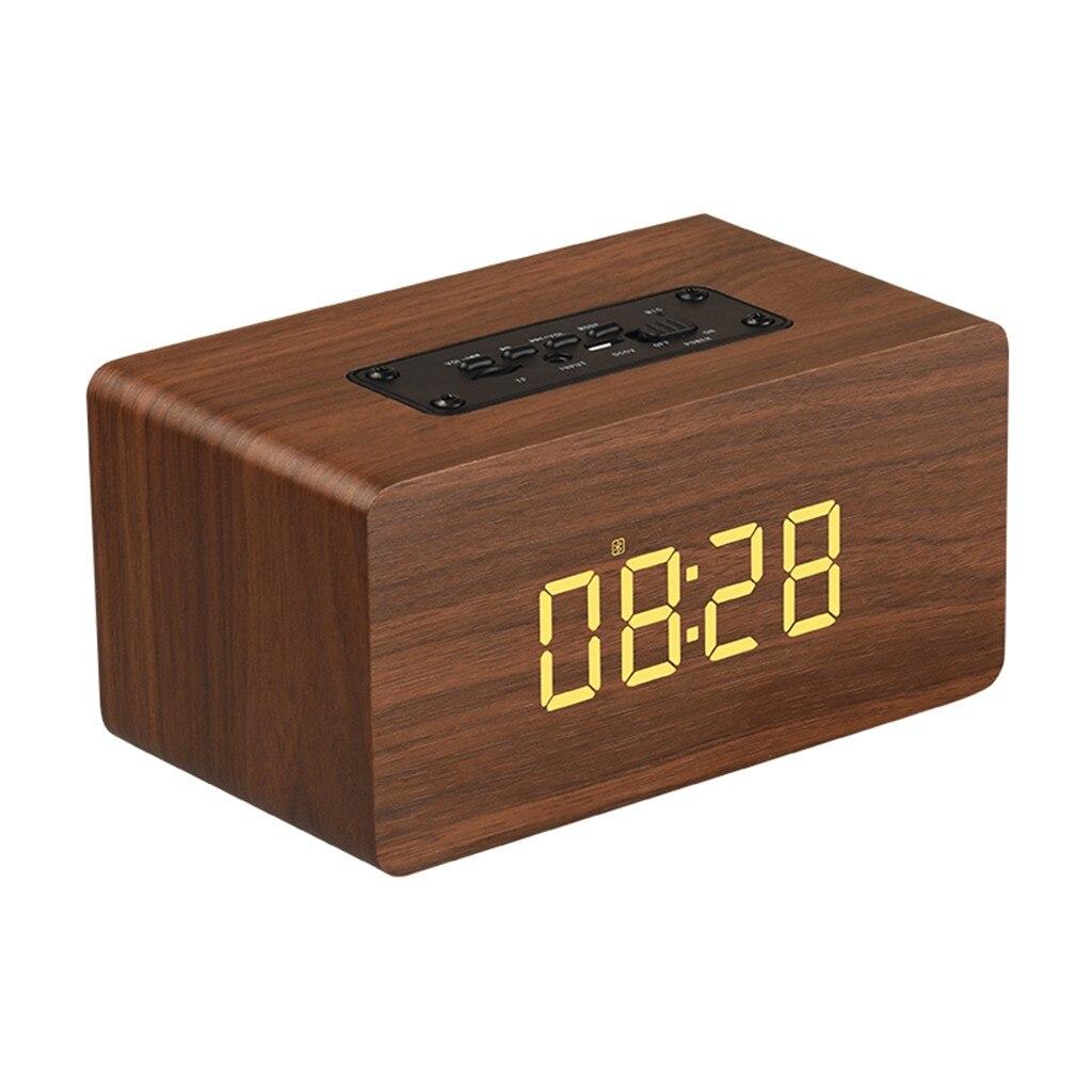 Wireless Speaker Bluetooth Portable Double Speakers Wood Wireless Bluetooth Speaker Support Clock FM