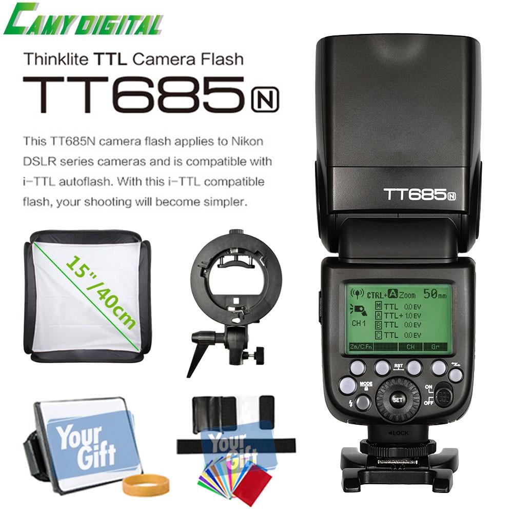 Godox I TTL II tt685n Камера flash 2.4 г беспроводной HSS 1/8000 s GN60 + Godox S Тип кронштейн + софтбокс (40 см/50 см) комплект для Nikon Камера s