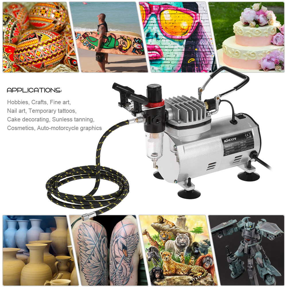 KKmoon Brand New Professional 3 Airbrush Kit With Air Compressor Dual-Action Hobby Spray Air Brush Set Tattoo Nail Art PaintKKmoon Brand New Professional 3 Airbrush Kit With Air Compressor Dual-Action Hobby Spray Air Brush Set Tattoo Nail Art Paint