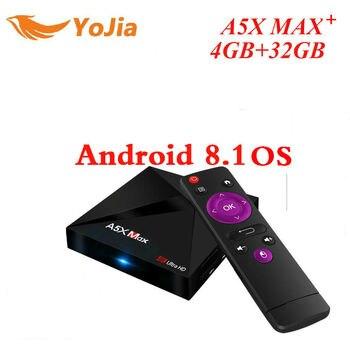 RK3328 A5X Max Plus Android 8,1 caja de TV 4g/16G 32 GB 2,4g/5g dual WiFi 1000 m opcional BT4.1 A5X Max + set top box Media Player