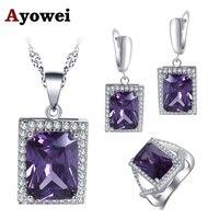 Ayowei бренд дизайн для девочек квадратный фиолетовый циркон 925 серебряные серьги цепочки и ожерелья кольцо комплект ювелирных изделий JS751A
