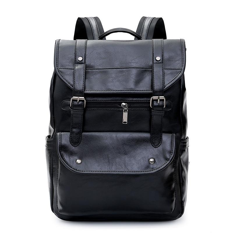 Роскошный кожаный деловой черный мужской рюкзак для ноутбука, мужские школьные рюкзаки для подростков, мужской рюкзак для ноутбука, мужска...
