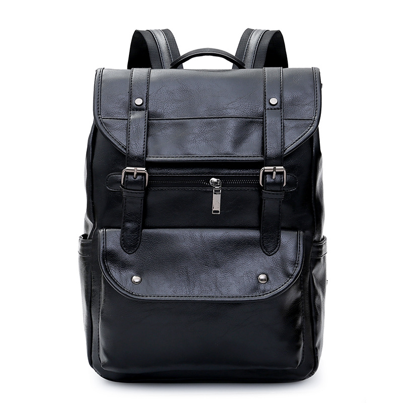 Luxury leather Business Black men's notebook backpack man school backpacks for teenagers Boy male laptop backpack Men bag pack