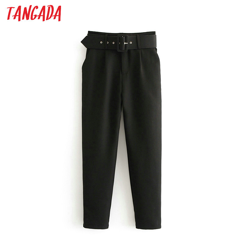 Tangada Suit Pants Sashes Pockets High-Waist-Pants Pink Black Office Ladies Fashion Woman