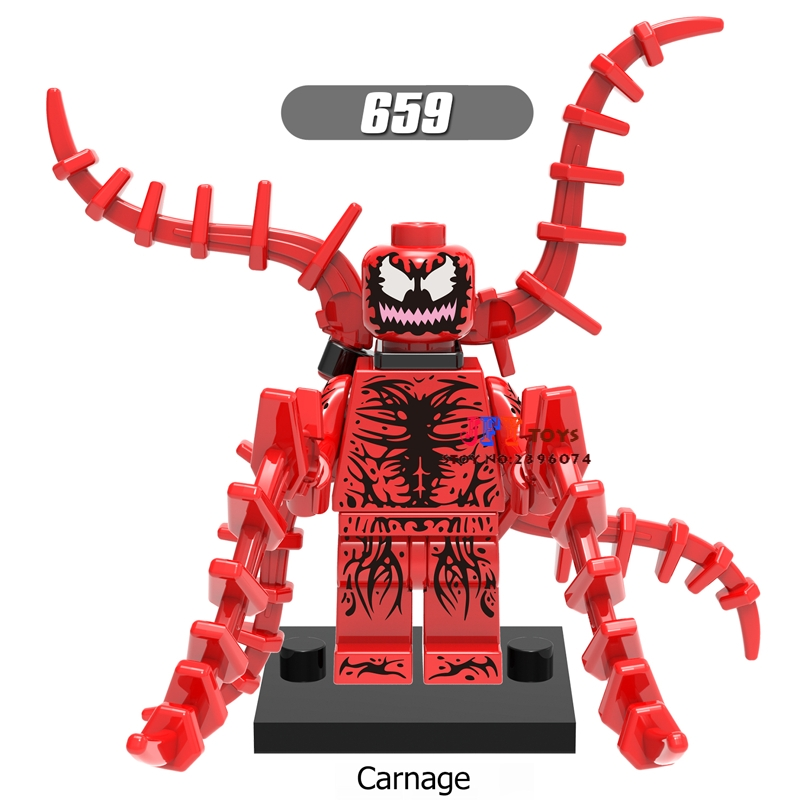 Model Building Blocks Rational 50pcs Super Heroes Marvel Comics Model Spider-man Carnage Venom Building Block Bricks For Gift Children Toy Brinquedos Menina A Complete Range Of Specifications