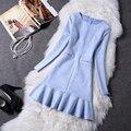 Las mujeres Vestido de Otoño Invierno Moda de Nueva Manga Larga Delgada de Gamuza Elegante Bodycon Del Partido de Baile Vestido de la Espina de pescado Vestidos de Volantes