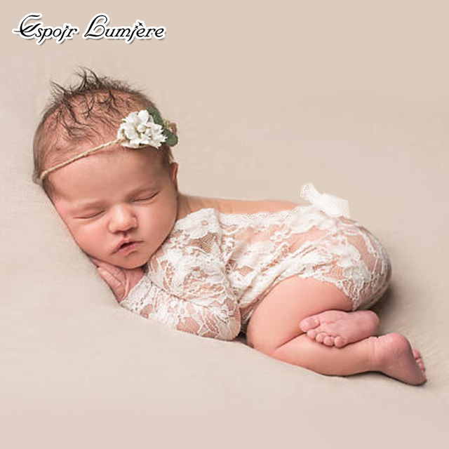Espoir lumiere newborn lace romper baby girl long sleeve floral baby romper boho baby photography props
