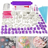 Facemile 94pcs Cake Decorating Tools Plunger Fondant Cake Pastry Cutters Baking Tools Dough Roller Rolling Pin
