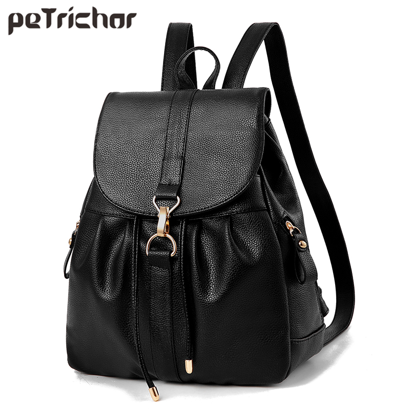 Petrichor England Style String Black Backpack Female PU Leather Women Shoulder Bag Girl School Bags Lock Anti-theft Ladies Purse