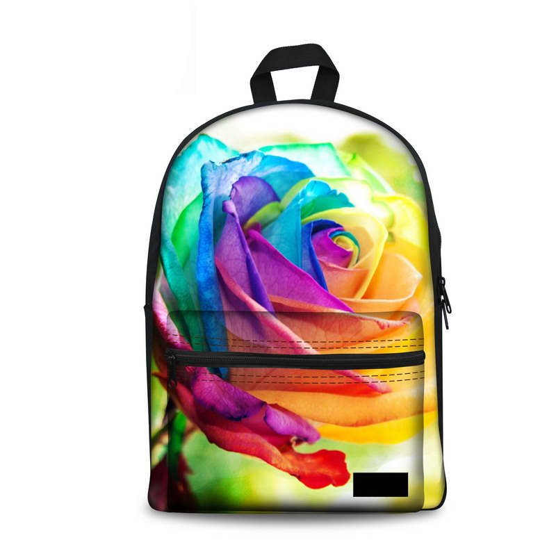 Women Backpack Fashion Canvas Back Pack Bright Rose Floral Print Backpacks for Teenager Girls Schoolbag Mochila Feminina