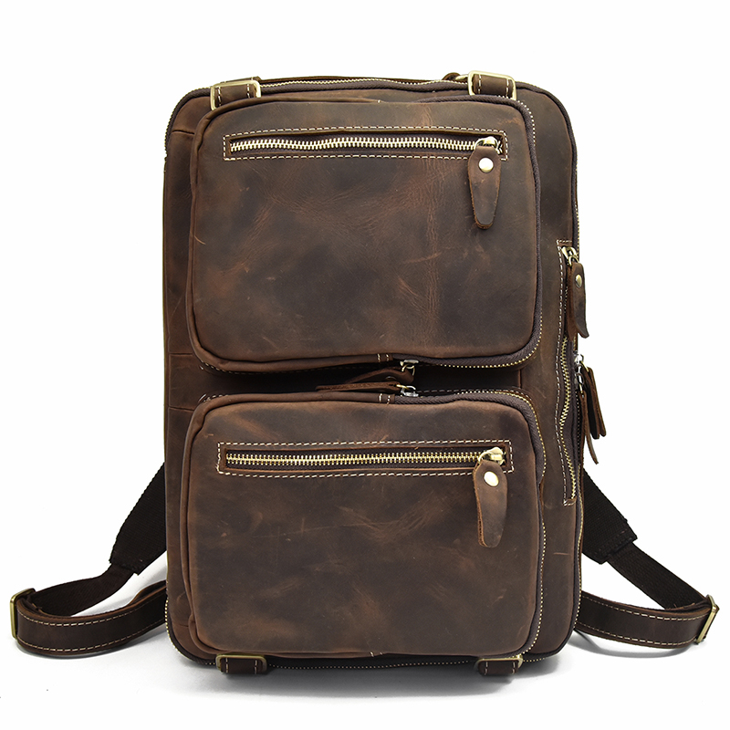 Men Crazy Horse Leather Backpack Laptop Genuine Leather Business Bag 3 USING WAY Laptop Bag Softback Real Leather Rucksack