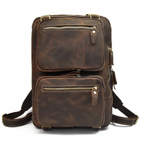 Men Crazy Horse Leather Backpack Laptop Genuine Leather Business Bag 3 USING WAY Laptop Bag Softback Real Leather Rucksack