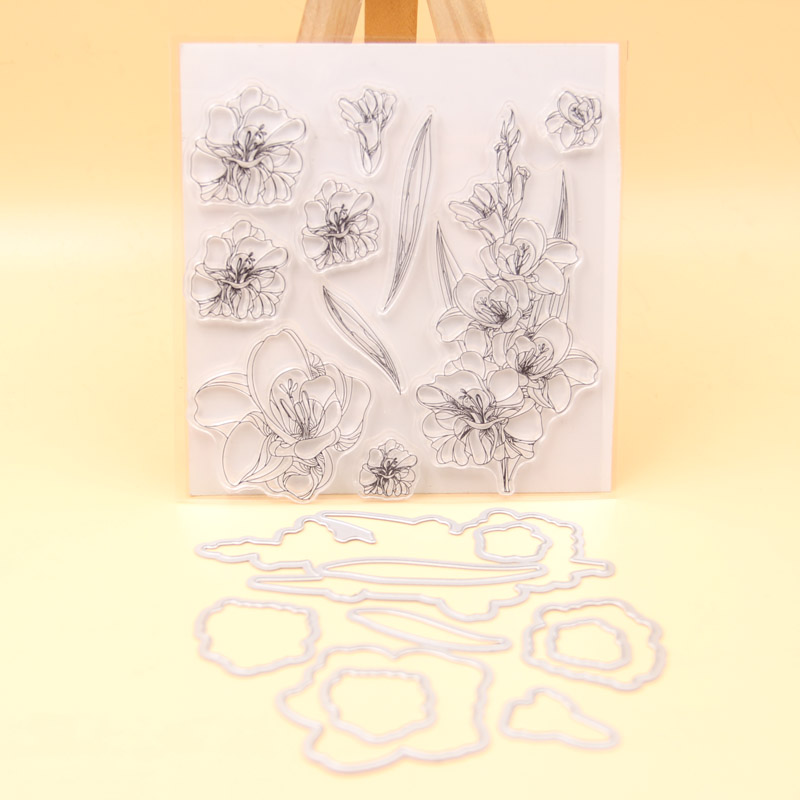 KLJUYP Flowers Transparent Clear Silicone Stamp Cutting Dies Set for DIY scrapbooking/photo album Decorative lovely animals and ballon design transparent clear silicone stamp for diy scrapbooking photo album clear stamp cl 278