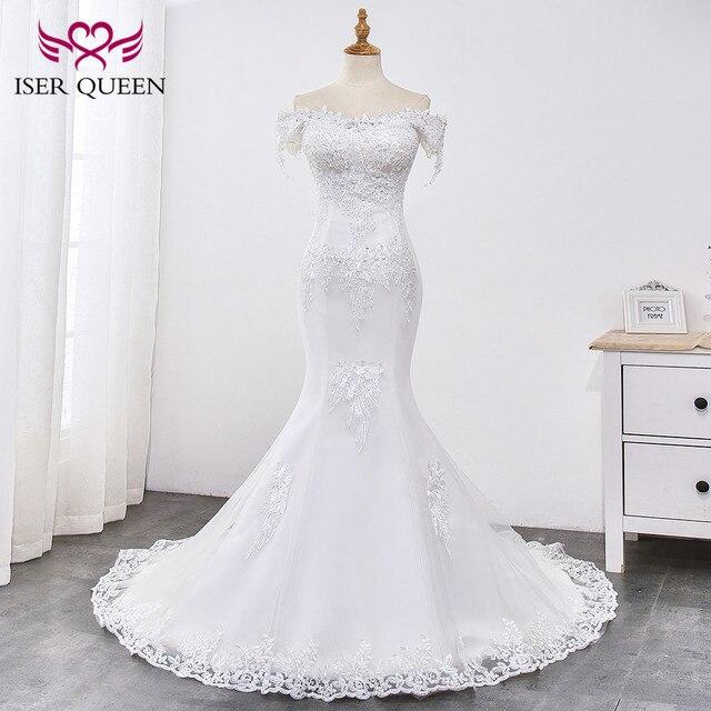 ลูกปัดลูกไม้ชุดแต่งงานเงือก 2020 เพิร์ลที่สวยงาม Appliques Court Train Lace Up เมอร์เมดสีขาวชุด WX0032