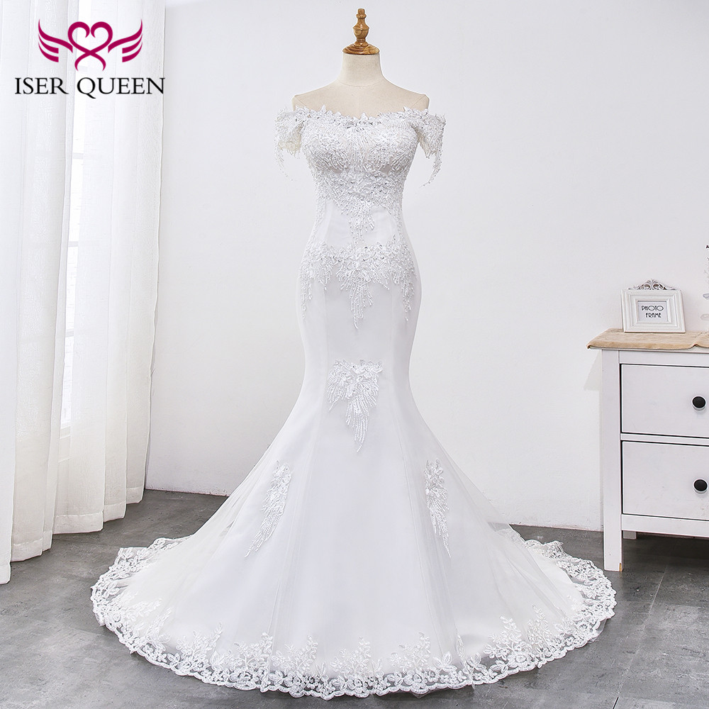 Beading Lace Mermaid Wedding Dress 2019 Pearl Beautiful Appliques Court Train Lace Up Pure White Mermaid Wedding Gown WX0032