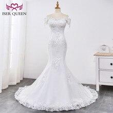 Vestido de novia de sirena, encaje con cuentas, Perla 2020, hermoso aplique, corte, tren, encaje, blanco puro, sirena, WX0032
