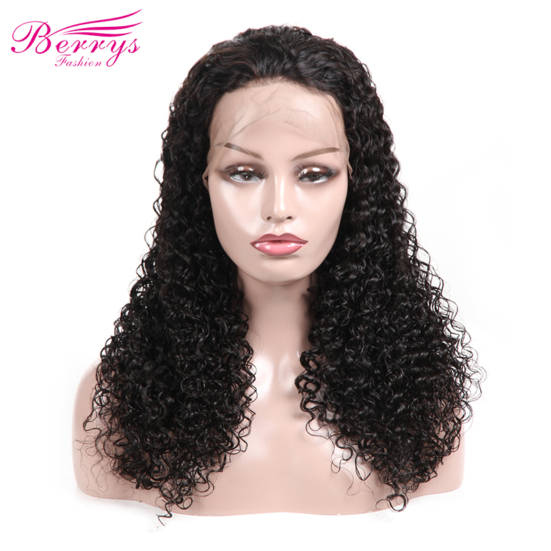 [Berrys Fashion] Full Lace Human Hair Wigs Deep Curly 130% Density Natural Hairline Free Part Brazilian Remy Hair(China)