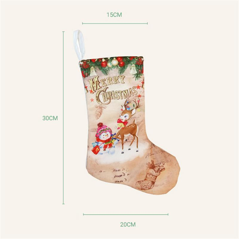 Image 5 - Christmas Stockings Pendant Cloth Ornaments Small Boots Pendant Christmas Pattern Print Party Home Decoration Supplies Gift Bag-in Stockings & Gift Holders from Home & Garden