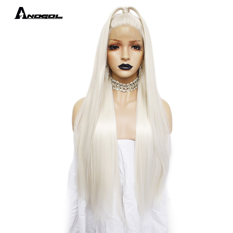 Anogol Platinum Blonde Natural Full Hair Wigs 613 Long Silky Straight 180 density Synthetic Lace Front