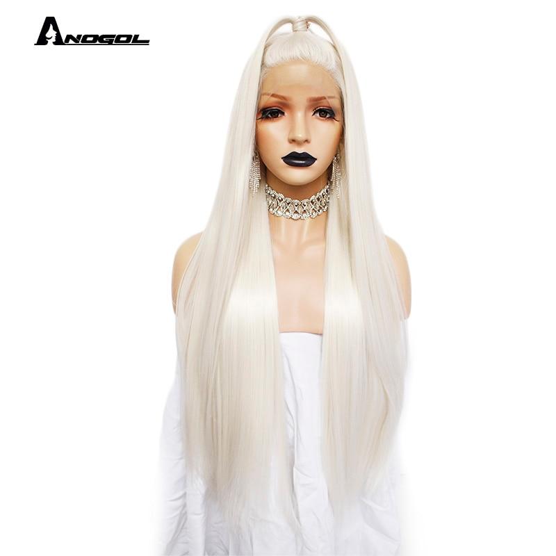 Anogol платиновый блонд натуральные парики 613 длинные шелковистые прямые 180% Плотность синтетические парики на кружеве для белых женщин-in Синтетические парики без сеточки from Пряди и парики для волос on AliExpress
