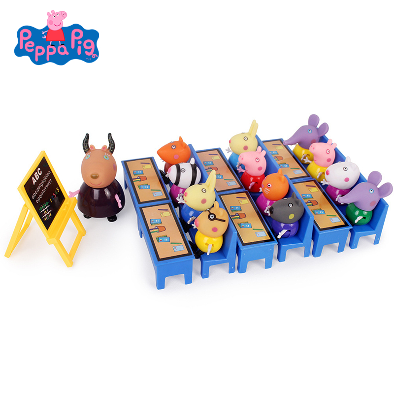 Peppa Pig George Friend School Desk Set Toys Piggy Teacher Action Figure Model Dolls Family Set Children High Quality Toy Gifts