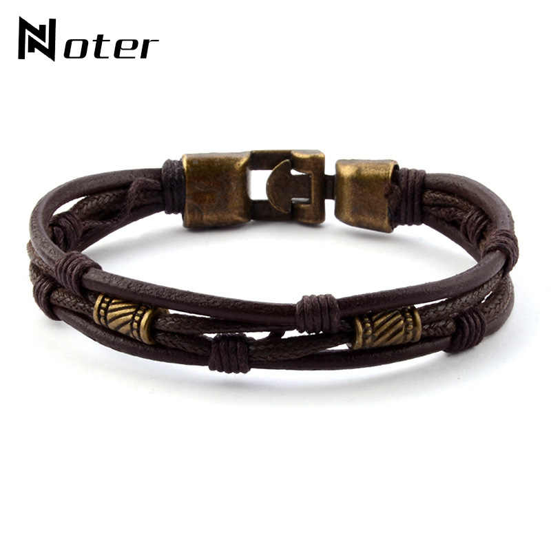 Vintage Braided Leather Bracelet Men Charm Gold Silver Color Warp Braslet For Homme Hip Hop Jewelry Handmade Multilayer Braclet