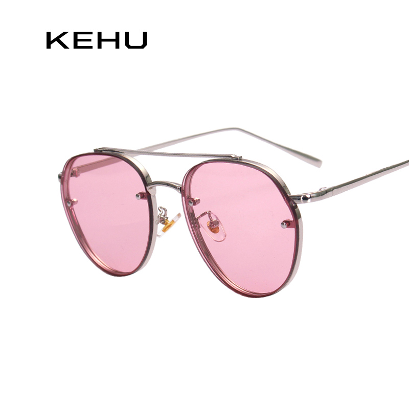 KEHU Brand Design New Fashion Sunglasses Women Double Beam Round Sunglasses Men Clear lens Vintage Round Glasses UV400 K9023